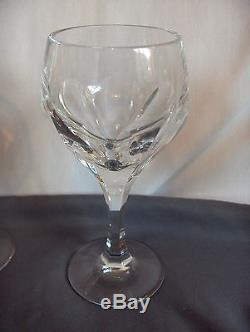 4 Vintage Gorham Crystal Wine Goblets Sonja Cut Panels Hard To Find NICE