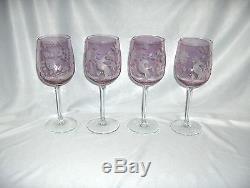 4 Vintage Irridescent Lavender Pink Wine Goblets Etched Bird Flowers NICE