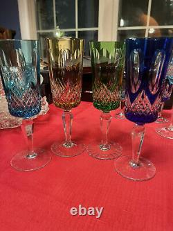 4 Vintage Multi-Color Bohemian Czech Crystal Cut To Clear Cordial Wine Glasses
