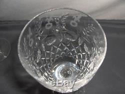 4 Vintage Rogaska Wine Goblets Gallia Cut Crystal Signed Retired Gray Flowers