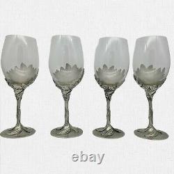 4 Vintage Royal Selangor Pewter Sunflower Stemmed Crystal Goblets Wine VHTF