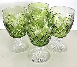 4 Vintage Val St Lambert Lime Reseda Cased To Clear Crystal Wine Short Stem