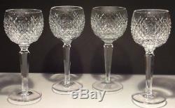 4 Vintage Waterford Crystal Alana Wine Hock Glasses Marked Gothic Ireland