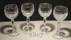 4 Vintage Waterford Crystal Lismore Wine Hock Glasses 7 3/8 Ireland