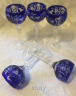 5 Cobalt Blue Nachtman Traube 6 7/8 Wine Glasses Cut To Clear EUC
