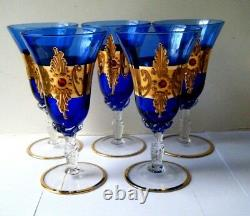 5 Old Vtg WINE GLASES Cobalt Blue Czech Bohemian art glass gold Gilt w red jewel