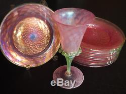5 Vintage 50's Venetian Iridescent Pink Green Wine Stem Glass Goblets 8.5 Tall