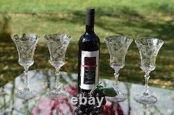 5 Vintage Acid Etched Wine Glasses, Cambridge, Elaine, Stem 3500