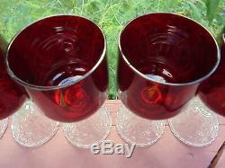 5 Vintage Cambridge Rose Point Ruby Red Pressed Wine Goblets 5 1/8