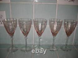 5 Vintage Fostoria June Pink 8.25 Wine Water Glasses Goblets