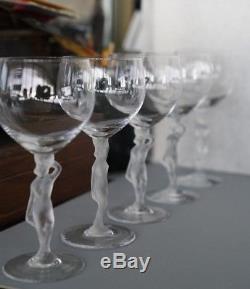 5 Vintage French Bayel Art Glass Wine Goblets Crystal Satin Nude Bacchus Stem