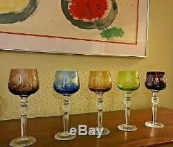 5 Vtg Bohemian Czech Cut To Clear 8.25 Multicolor Wine Hocks Glass Stemware