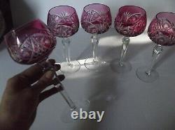 (5) Wine Hock Glasses Cranberry Red cut to Clear Crystal Bohemian vtg Germany