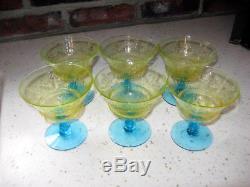 6 ANTIQUE VTG BLUE STEM VASELINE URANIUM PATTERN GLASS CHAMPAGNE WINE Pukeberg