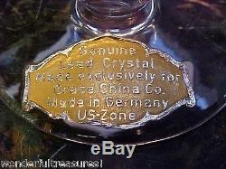 6 CUT Crystal Glass Wine Cordial Shot Glasses RING Stem Vntg U. S. ZONE GERMANY
