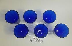 (6) HEISEY Spanish Cobalt WINE GLASSES, Optic, Cobalt Blue, Clear Stem, Vintage