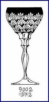 6 RAINBOW Wine Goblets Glasses Hocks CUT TO CLEAR LEAD CRYSTAL Josephinenhuette