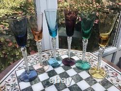 6 RARE Vintage STUART SET Air twist Harlequin bowl 9 liqueur glass AIR TWIST