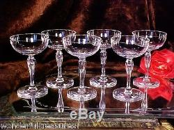 6 RARE Vntg Crystal CUT GLASS Wine Champagne Glasses CUT PANEL TEARDROP IN STEM