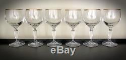 6 Rare Vintage Crystal Spiegelau Gold Rim Design Wine Glasses Height 6