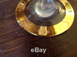 6 VINTAGE BAYEL CRYSTAL FROSTED NUDE LADY STEM GOLD sherbet WINE GLASSES FRANCE