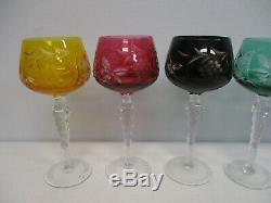 6 VINTAGE BOHEMIAN COLORFUL CUT TO CLEAR WINE HOCK GLASSES w GRAPES FLOWERS 8