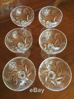 6 VINTAGE STUART CRYSTAL ELLESMERE CHAMPAGNE WINE GLASS 4 3/8in CUT FERN LEAF