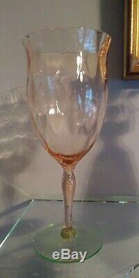6 VTG DEPRESSION GLASSES ELEGANT WATERMELON PINK & GREEN TIFFIN Large WINE