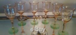 6 VTG. Pink & Green Depression TIFFIN Etched Watermelon Glasses Cordial Wine