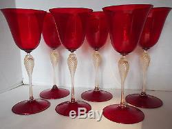 6 VTG Venetian Red Swirl Gold Flakes Stem Adventurine Wine Champagne 9 Tall MCM