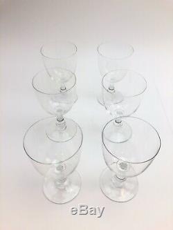 6 Vintage Baccarat 6 1/2 CRYSTAL MONTAIGNE CLARET WINE GLASSES Stems MINT