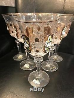 6 Vintage Bohemia 18k Gold Enamel Queen Lace Crystal Wine Goblet Glasses 9 Oz