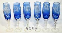 6 Vintage Bohemian Czech Cobalt Blue 9 Champagne Flute/wine Glasses-art Glass