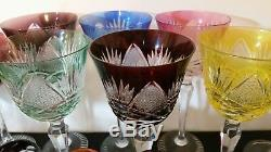 6 Vintage Bohemian Czech Cut To Clear 8.25 Multicolor Wine Hocks Glass Stemware