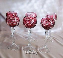 6 Vintage Bohemian Rasberry cut to Clear Wine Hocks