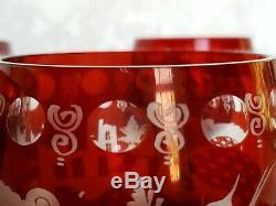 (6) Vintage Bohemian Ruby Red Crystal Cut To Clear Fancy Wine Hooks Stemware