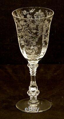 6 Vintage CAMBRIDGE Elegant Glass ROSE POINT / #3121 Stem CLARET WINE Goblet