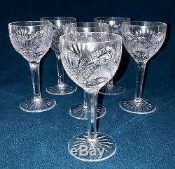 6 Vintage Czechoslovakia Bohemia Hand Cut Lead Crystal Wine Glasses, 6 1/2 Tall