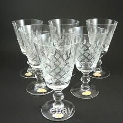 6 Vintage Danish Lyngby Fancy Cut Crystal Georgian Shape Eaton Red Wine Glasses