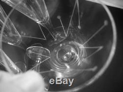 6 Vintage Holmegaard Clausholm Red Wine Glasses Flutes Per Lutkin 1957