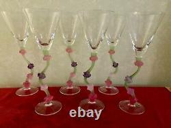 6 Vintage Miami Art Deco Style, Wine / Martini Glasses, Cristal de Paris, France