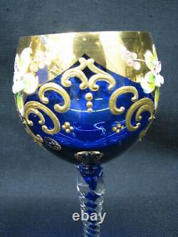 6 Vintage Murano Glass Wine Goblets Enamel Flowers Red and Blue Gilt Accents