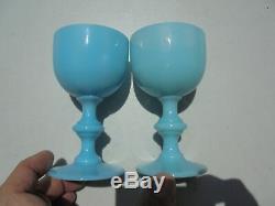 6 Vintage Portieux Vallerysthal Blue Opaline Glass Wine Goblets 4 7/16
