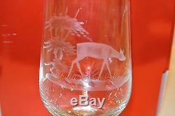 6 Vintage Rowland Ward Crystal Etched Animals Wine Beer Glasses Deer Fox Bird