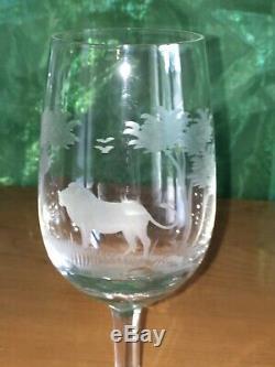 6 Vintage Rowland Ward Engraved Crystal Wine Glasses 6.75 High
