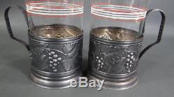 6 Vintage Russian Tea Cup Glasses Metal Holder Podstakannik Full Set Grapes Wine