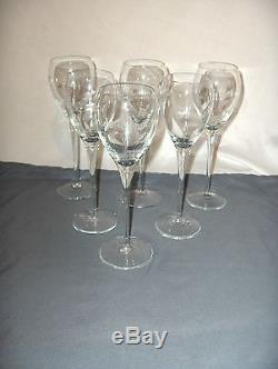 6 Vintage Tall Fine Crystal Wine Goblets Etched Vine Flowers NICE