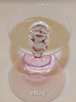 6 Vintage Tiffin Franciscan Wisteria Pink Stemmed Water / Wine Goblets Elegant