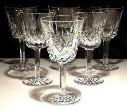 6 Vintage Waterford Crystal Lismore Claret Wine Glasses 5 7/8 Made In Ireland