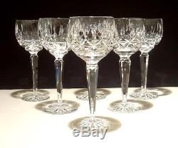 6 Vintage Waterford Rosslare Wine Hock Glasses 7 3/8 Mint